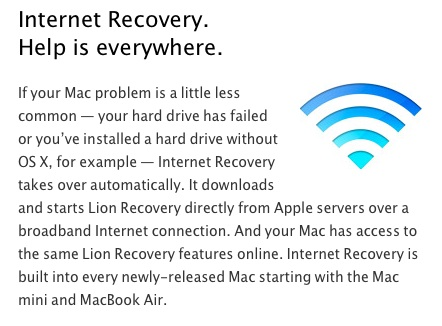 Apple ha portato l'Internet Recovery di Lion sugli attuali MacBook Pro