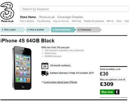 I prezzi di Tre UK per l'iPhone 4S