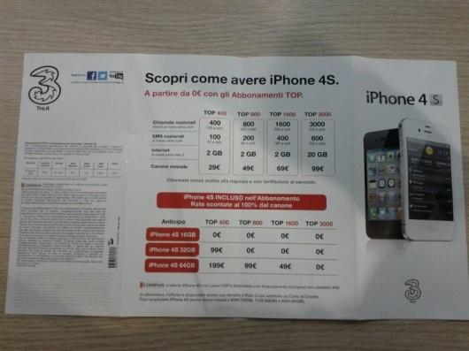 Gli abbonamenti dell'operatore Tre per l'acquisto di iPhone 4S