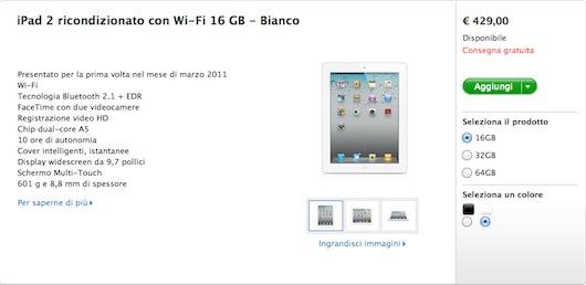 Su Apple Store compaiono i primi iPad 2 ricondizionati