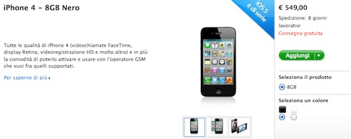 iPhone 4 da 8 GB a 549 €