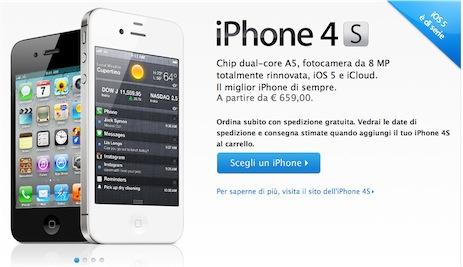 Al via le prenotazioni dell'iPhone 4S anche in Italia