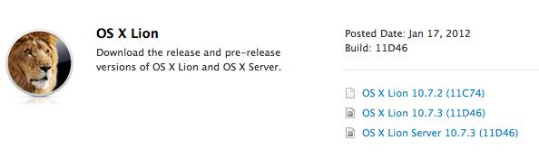Arriva OS X Lion 10.7.3 build 11D46