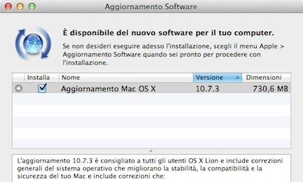 disponibile la versione OS X 10.7.3