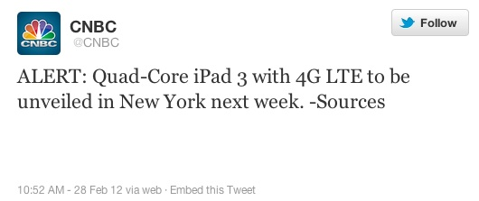 "CNBC: ""L'iPad 3 avrà un Quad Core"""