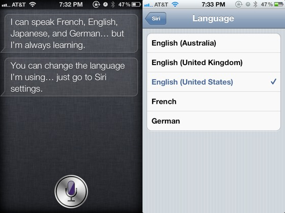 siri english language