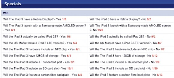 Skybet quote caratteristiche ipad 3