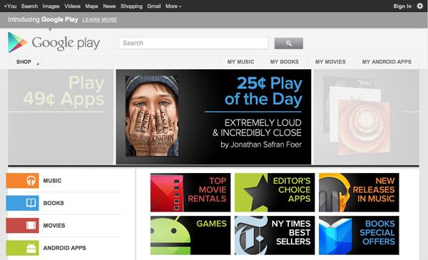 """Google lancia """"Google Play"""" una risposta al servizio iTunes di Apple"""