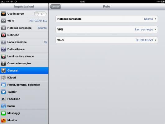 Guida all'attivazione della funzione hotspot personale sul nuovo iPad