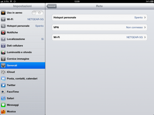 hotspot personale nuovo iPad