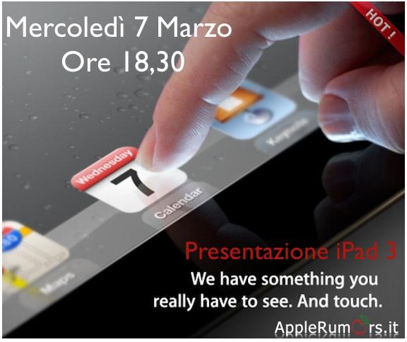 Presentazione iPad 3: Segui l'evento assieme ad AppleRumors Mercoledì 7 Marzo alle ore 18.30