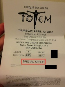 special apple totem ticket