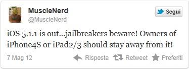 musclenerd tweet ios 5.1.1 update