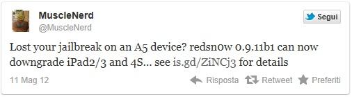 musclenerd tweet relativo al downgrade da ios 5.1.1