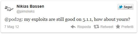 tweet di pimskeks sul jailbreak per ios 5.1.1