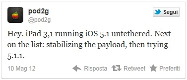 tweet pod2g per il jailbreak dell'ipad 3.1