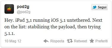 tweet pod2g per il jailbreak dell'ipad 3.1