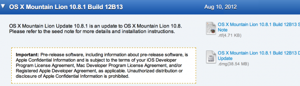 release 12B13 mountain lion 10.8.1