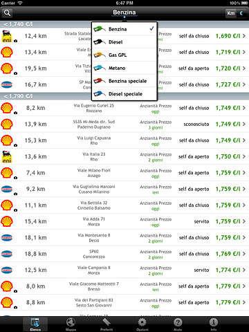 applicazione ios prezzi benzina