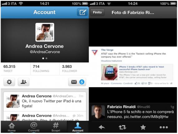 Rilasciato Twitter 5.0 per iOS