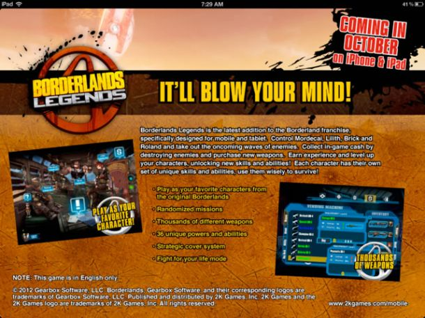 Borderlands Legends – versione iOS in arrivo per iPhone, iPad e iPod Touch
