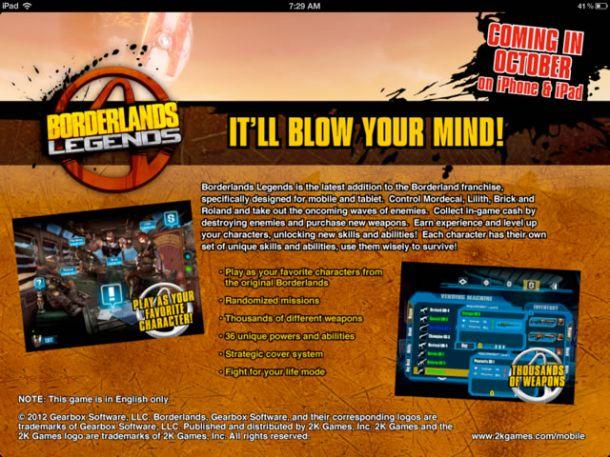 Borderlands Legends – versione iOS in arrivo per iPhone, iPad e iPod Touch