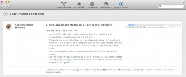 Aggiornamento Java disponibile per OS X Mountain Lion