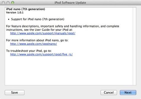 iPod Nano: rilasciato aggiornamento 1.0.1
