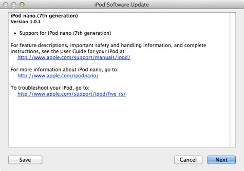 update 1.0.1 ipod nano