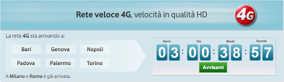 Vodafone tra tre giorni lancerà il 4G in altre sei città italiane