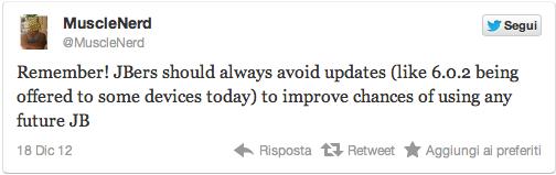 MuscleNerd: non aggiornate ad iOS 6.0.2 se interessati al Jailbreak