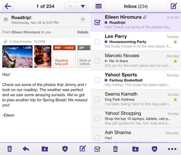 iphone yahoo mail
