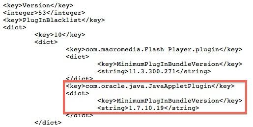 Lista nera Apple Java 11