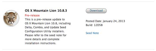 Nuova beta per OS X Mountain Lion 10.8.3