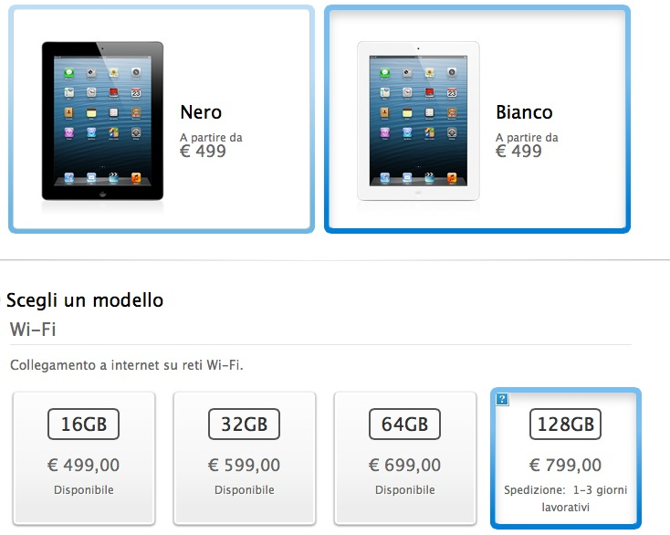 Apple: iPad da 128 GB nei negozi