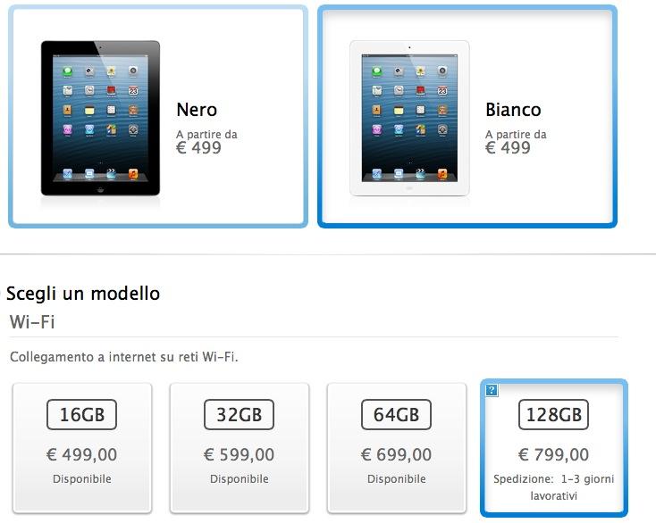 Apple: iPad da 128 GB nei negozi