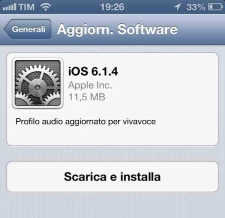 iPhone 5: arriva l'aggiornamento per iOS 6.1.4