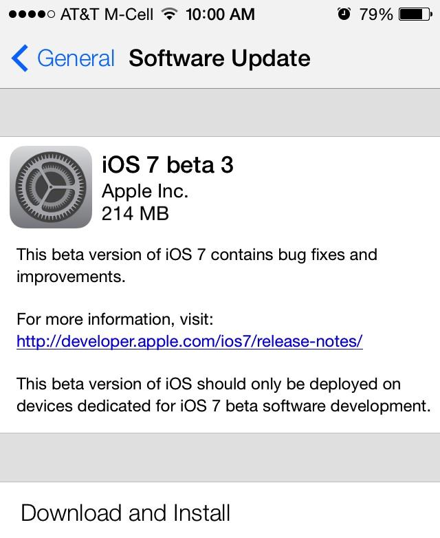 iOS 7: Beta 3 download disponibile