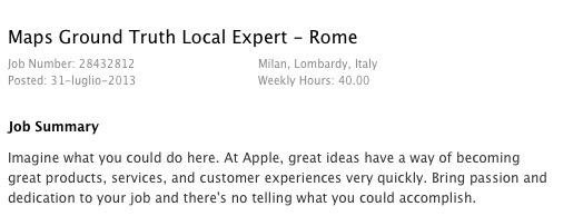Apple Maps: cercasi esperto in zona Roma
