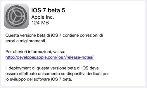 iOS 7 Beta 5: le novità introdotte