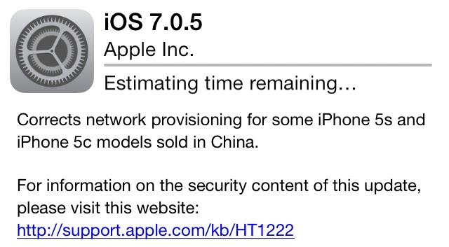 Apple: aggiornamento ufficiale iOS 7.0.5, cosa cambia?