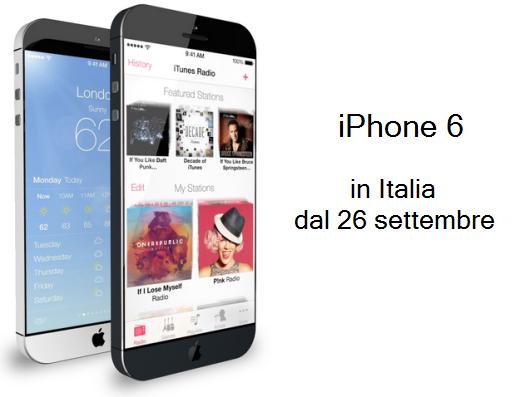 iPhone 6: sul mercato italiano a partire dal 26 settembre