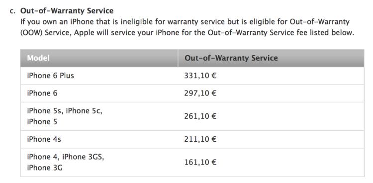 Apple: prezzi delle sostituzioni aggiornati